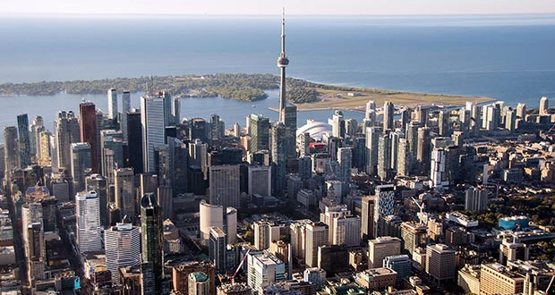 Home prices have soared almost 40% in Canada in the past five years across the country, largely driven by Toronto and Vancouver, and rents continue to jump. This photo shows an aerial view of Toronto, Ontario.