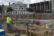 Twin Cities gains in office and hotel construction activity during the first half of 2019 stem largely from United Properties' RBC Gateway project, at 30 Third St. S. in downtown Minneapolis, according to Dodge Data & Analytics. This photo shows work being done  on the RBC Gateway site, in August 2019. (Staff photo: Brian Johnson)