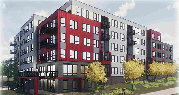 In June, Newport Midwest submitted a new plan for its Mariner apartments at 10400-10550 Bren Road E. in Minnetonka, but is now canceling the project and giving public funding awarded for it. (Submitted illustration: Collage Architects)