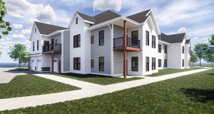 Renderings of the planned Sundance Woodbury rental townhomes show the two-story units configured in eight- and 10-unit buildings. The complex would be in the southeast quadrant of Interstate 94 and Woodbury Drive. (Submitted illustration: Timberland Partners)