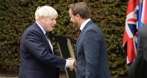 Luxembourg's Prime Minister Xavier Bettel, left, greets British Prime Minister Boris Johnson prior to a meeting at the prime ministers office in Luxembourg, Monday, Sept. 16, 2019. (AP Photo/Olivier Matthys)