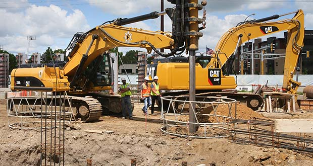 Construction was underway July 29 on the Hyatt House extended stay hotel at 315 First Ave. NW in Rochester. Sluggish U.S. architecture billings are causing concern for future construction activity, but Minnesota market watchers don't expect a severe downturn soon. (File photo: Bill Klotz, special to Finance & Commerce)