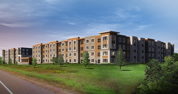 Real Estate Equities has closed on the property for its Spring House Apartments in Coon Rapids. The project, in the southwest quadrant of Highways 610 and 47, is one of several affordable projects the company is developing around the Twin Cities. (Submitted image: Kaas Wilson Architects)