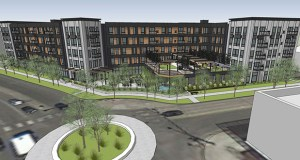Enclave Development of Fargo is proposing this 120-unit apartment building at the northeast corner of 65th Street and Lyndale Avenue in Richfield. (Submitted rendering)