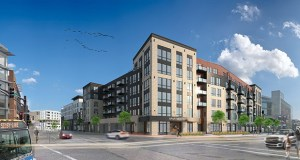 Kaeding Development Group's $68 million project next door to Xcel Energy Center includes a 144-unit market-rate apartment building and a 120-room hotel. (Submitted image: Tushie Montgomery)