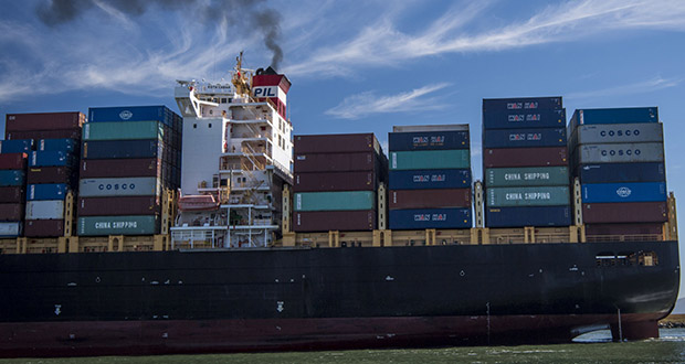 Huge ocean-going ships are tricky to switch to carbon-neutral fuel, as most of their energy consumption relates to propulsion at steady speed over long distances, and battery applications would not provide enough energy for such long voyages. (Bloomberg file photo)