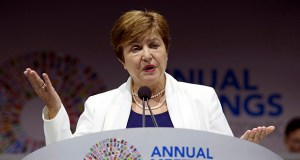 International Monetary Fund Managing Director Kristalina Georgieva speaks Friday during the opening ceremony of the World Bank/IMF Annual Meetings in Washington. (AP Photo: Jose Luis Magana)