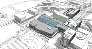 A massing study submitted as part of the preliminary development plan for a massive, new water park at the Mall of America shows a hotel built between the water park and the water park's parking structure to the east. (Submitted illustration: DLR Group)