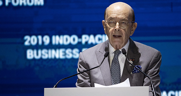 U.S. Commerce Secretary Wilbur Ross delivers a speech Monday at the Indo-Pacific Business Forum in Nonthaburi, Thailand. Ross is leading a high-powered trade mission in Asia and along with national security adviser Robert O'Brien attended meetings at the regional summit. (AP Photo: Sakchai Lalit)