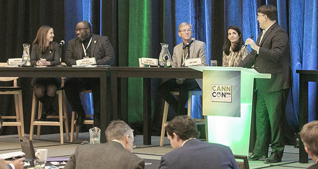 Wednesday's CannCon legislative panel, left to right: Sen. Melisa Franzen, DFL-Edina; Sen. Jeff Hayden, DFL-Minneapolis; Sen. Scott Jensen, R-Chaska; Leili Fatehi, Blunt Strategies; and moderator Kevin Riach, a Fredrikson & Byron shareholder. (Staff photo: Kevin Featherly)