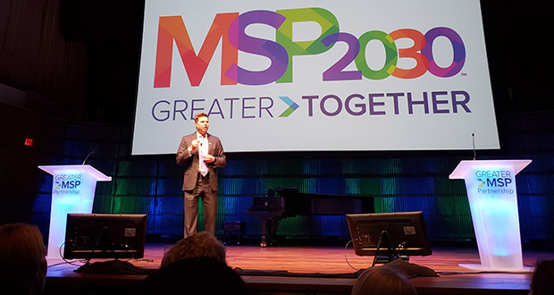 Greater MSP Partnership Board Chair Tim Welsh speaks Monday at the economic development coalition's annual meeting in St. Paul. The group announced several 10-year goals for the region and rolled out new branding and logos. (Staff photo: William Morris)