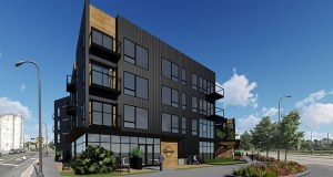 A four-story apartment block planned for 3801 Hiawatha Ave. S. in Minneapolis would cozy up to the Longfellow Station apartments and a future, 500-unit apartment building across 38th Street South. (Submitted illustration: DJR Architecture)