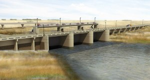The U.S. Army Corps of Engineers recently awarded a $59.4 million contract to Ames Construction for work on the $2.8 billion Fargo-Moorhead flood diversion project. In 2017, Ames began work on this inlet structure near Horace, North Dakota. (Submitted illustration: U.S. Army Corps of Engineers)