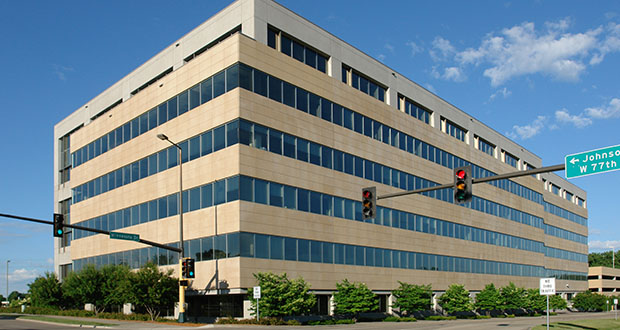 One MarketPointe at 4300 Marketpointe Drive in Bloomington is one of a pair of buildings Ryan Cos. US Inc. built a decade apart at the northwest quadrant of Interstate 494 and France Avenue South. (Submitted photo: CoStar)