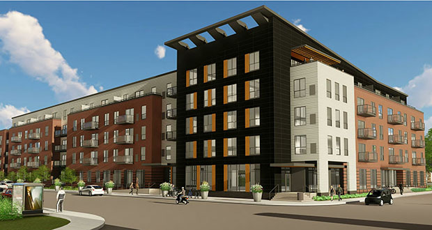 CommonBond Communities has closed on financing to build Gateway Northeast, a 128-unit mixed-use, mixed-income project at the corner of Lowry Avenue and Marshall Street Northeast. (Submitted image: LHB)