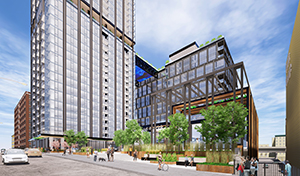 Hines plans to break ground next summer on a 14-story office building connected to a 37-story residential tower, which will include 90 short-term rental units. (Submitted image: ESG)