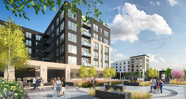 Kaeding Management plans to build 144 apartments and a 120-room hotel on the vacant city-owned block immediately northwest of St. Paul's Xcel Energy Center. Doran Construction pulled permits valued at $6.3 million for the apartment building and hotel in November. (Submitted image: Tushie Montgomery Architects)