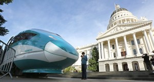 A full-scale mock-up of a high-speed train is displayed Feb. 26, 2015, at the Capitol in Sacramento, California. Plans for a train between Los Angeles and San Francisco are being scaled back because of soaring costs. (AP file photo)