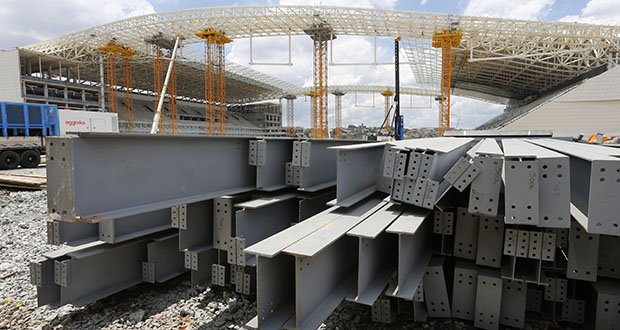 President Donald Trump on Dec. 2 accused Brazil and Argentina of hurting American farmers through currency manipulation and said he'll slap tariffs on their steel and aluminum imports to retaliate. In this Dec. 8, 2013, photo, steel beams sit outside Arena de Sao Paulo in Sao Paulo, Brazil. (AP file photo)