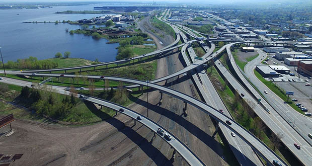 "The Minnesota Department of Transportation's Twin Ports Interchange project is designed to improve safety and traffic flow in a busy freight corridor. Scopes of work include replacement of 35 bridges and reconstruction of a tangled interchange known to locals as the ""Can of Worms."" (Submitted photo: MnDOT)"