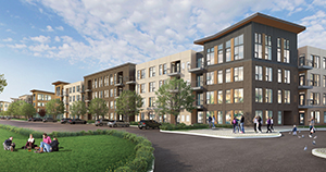 The 261 apartments approved in October are only the first of 1,000 units planned at the sprawling Viking Lakes campus surrounding the new Minnesota Vikings headquarters and training center. (Submitted image: BKV Group)