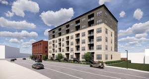 A six-story addition planned for the 700 Central apartments in northeast Minneapolis would bring another 71 units to the complex. (Submitted illustration: Kaas Wilson Architects)