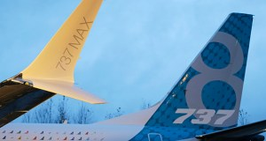 In this Dec. 8, 2015, file photo, a winglet and the vertical stabilizer of the first Boeing 737 MAX airplane to roll off Boeing's assembly line in Renton, Wash., are shown before an employee-only rollout event. (AP Photo/Ted S. Warren, File)