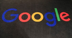 In this Monday, Nov. 18, 2019 file photo, the logo of Google is displayed on a carpet at the entrance hall of Google France in Paris.  (AP Photo/Michel Euler, File)