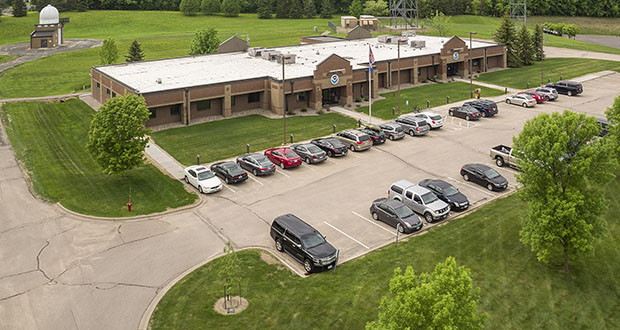 The 9.74-acre campus of the National Weather Service has sold for $8.6 million to a St. Paul buyer. The site, one of 122 weather stations in the U.S., is located at 1733 Lake Drive W. in Chanhassen. (Submitted photo: CoStar)