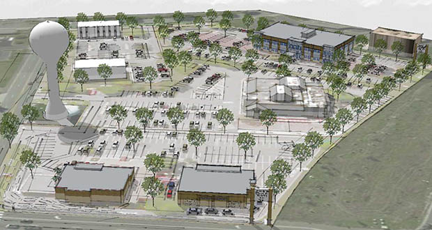 This aerial rendering illustrates Minneapolis-based Lupe Development's plans for its Valley Creek redevelopment, along Interstate 494 in Woodbury. The plan, viewed here from the north, includes a retail building and a Chick-Fil-A at the north end and a 34,000-square-foot medical building at the south end. (Submitted rendering: Pope Architects)