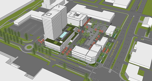 Ryan Cos.' updated plan to redevelop a U.S. Bank branch in Edina features 225 market-rate apartments, 90 affordable units and a mix of commercial buildings. (Submitted image: Ryan Cos. US Inc.)