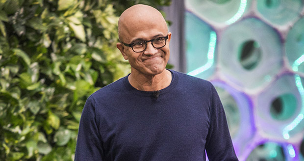 Microsoft CEO Satya Nadella speaks at the Microsoft event on Thursday in Redmond, Washington. Microsoft also said Thursday it is starting a $1 billion fund for developing carbon reduction and removal technology. (Photo: Steve Ringman/The Seattle Times via AP)