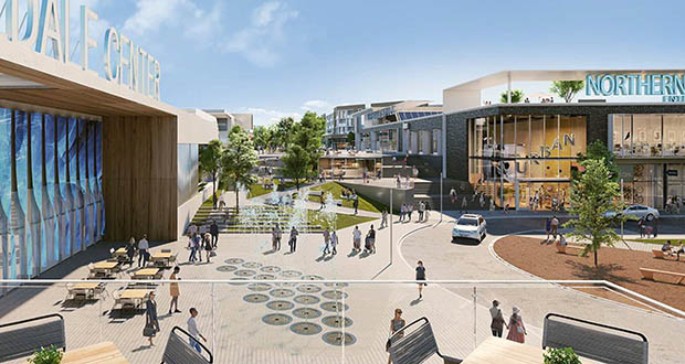 Rosedale Center's proposed expansion includes two apartment complexes, two hotels, and new retail, office and restaurant space separated from the existing mall by a new landscaped park area. (Submitted image: JLL)