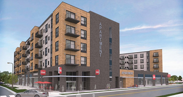 Lowa46, a mixed-use apartment and retail project at 4621 Snelling Ave. in Minneapolis, was a winner among nominees for the 2019 MSCA STARR Awards. (Submitted illustration: CoStar)