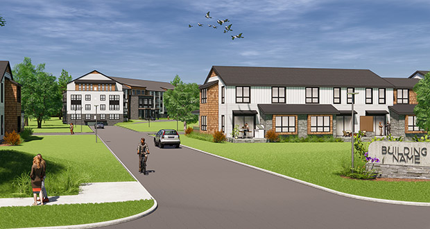 At Home Apartments wants to build a 91-unit, four-story apartment building and 77 townhome units on the 13-acre site at the southeast quadrant of Highway 96 and McMenemy Street in Vadnais Heights. (Submitted rendering: At Home Apartments)