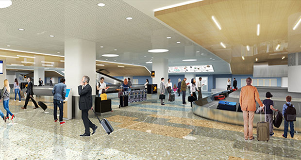 Sheehy Construction's $29.9 million bid on a project to improve baggage claim and ticket lobby areas at the Minneapolis-St. Paul International Airport's Terminal 1 was 25% shy of the MAC's pre-construction estimate. (Submitted rendering: MAC)