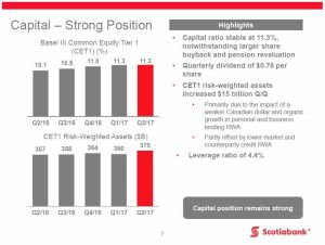BNS - Q2 2017 Strong Capital Position