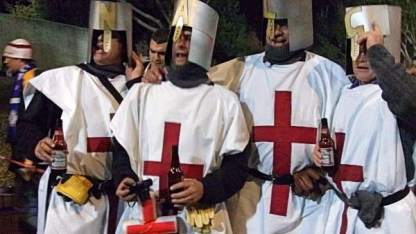 Financial Glass - English Fans Dressed as Knights