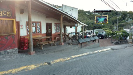 Pension, Santa Elena. The tables outside are used for a small counter restaurant attached to the hostel - they give you free breakfast with your stay!