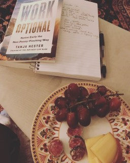 smoked gouda, grapes, and sausage with Work Optional book