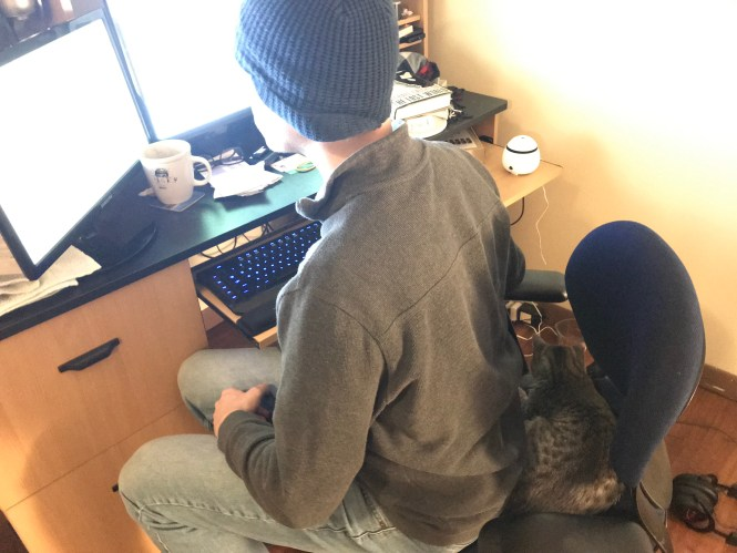 Man and cat sharing office chair