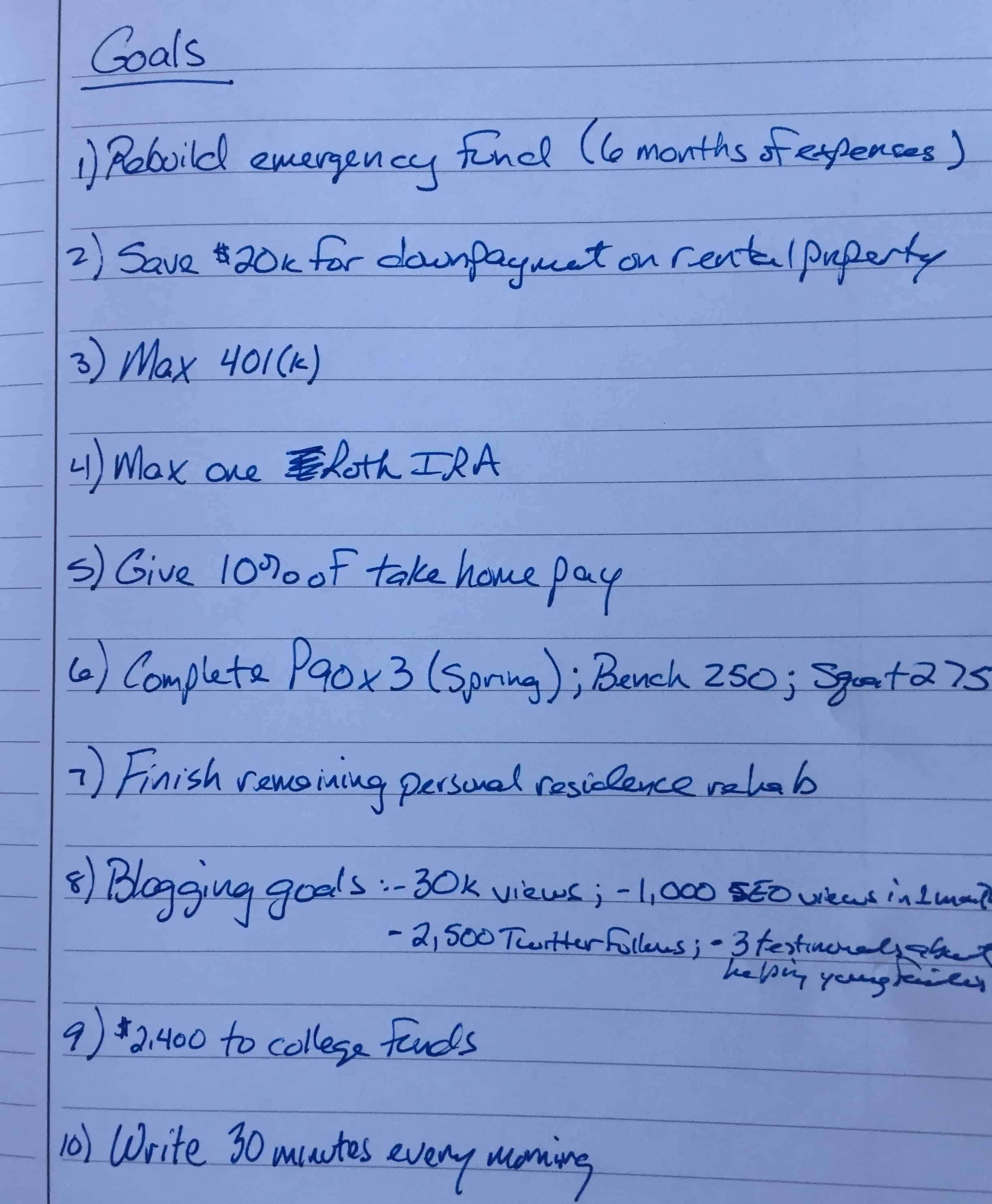 Photo of handwritten personal goals for 2019
