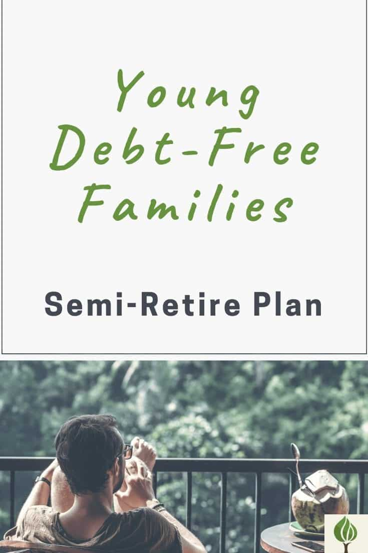 Pinterest Pin with a man sitting on back deck relaxing. The pin is for Semi-Retire Plan and is a Young Debt-Free Family interview.