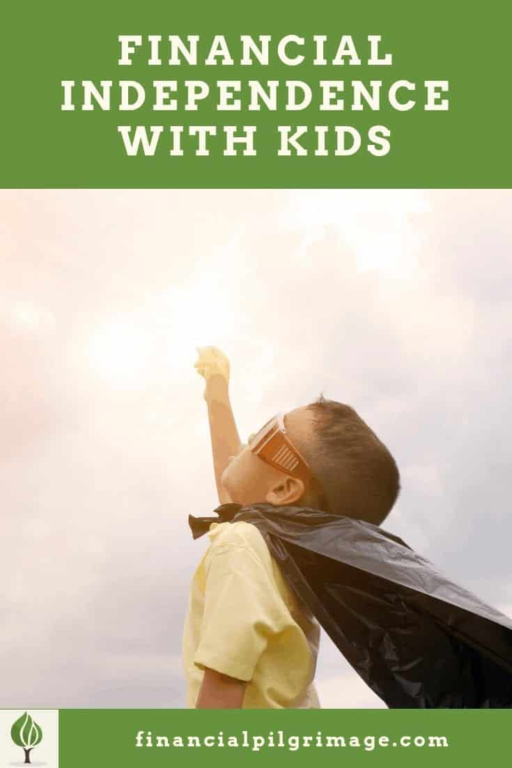 Pinterest image of a super hero child pointing to the sky while pursuing financial independence