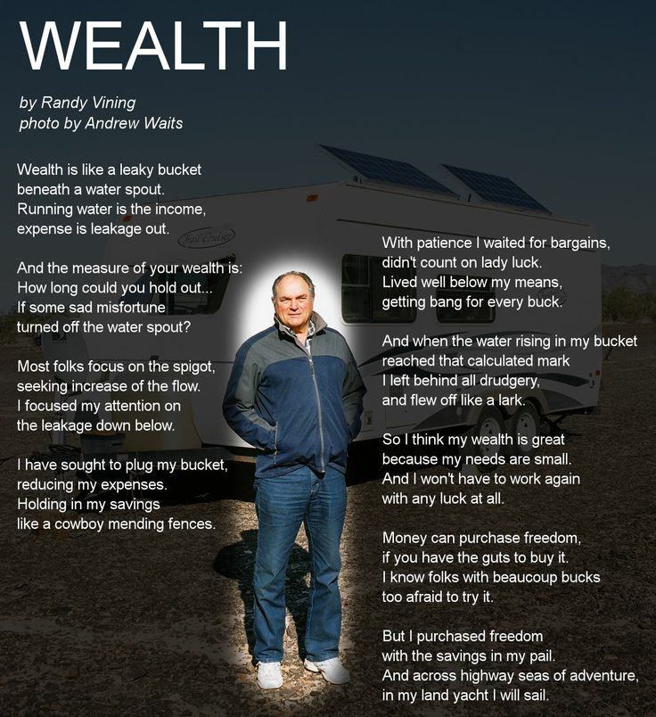 Wealth poem by Randy Vining