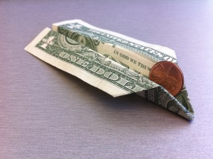 Paper Airplane Out Of Dollar Bill