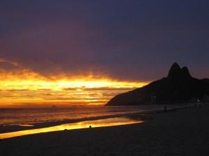 Rio De Janeiro Sunset Over The Flavelas