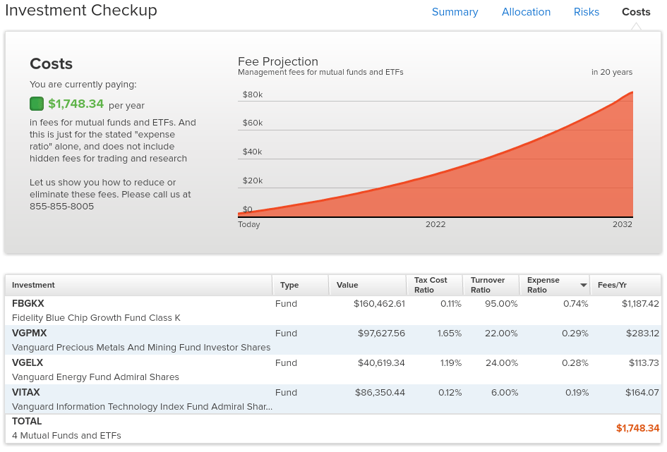 Personal Capital Investment Checkup Tool