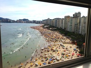 Overlooking a crowded beach in Brazil