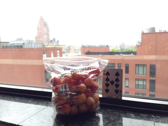 bag of cherries in an expensive city